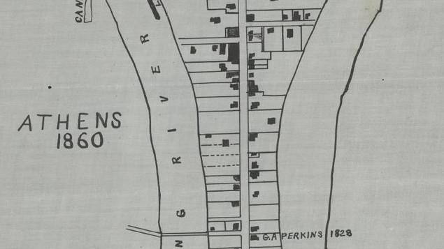 Z F Walker map of dwellings in Athens in 1860