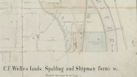 1866 survey by Z. F. Walker of CF Welles lands in Athens Township - Tannery Curve