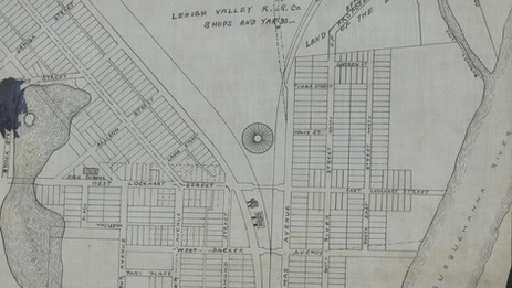 Early Sayre showing the LVRR roundhouse and proposed streets