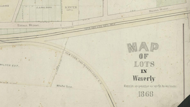Map of Waverly at Broad Street in 1868