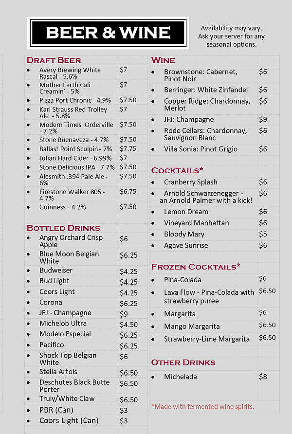 Beer and wine menu for up in smoke bbq in san marcos california