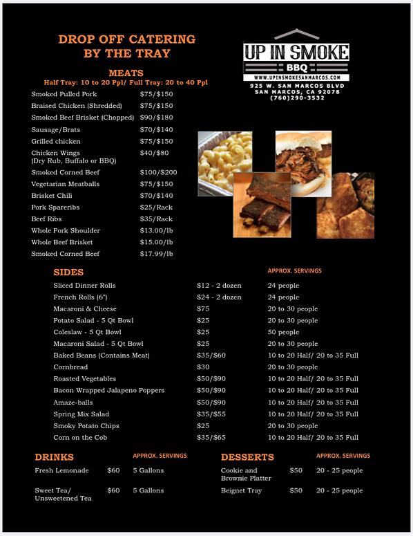 catering menu for up in smoke bbq san marcos california