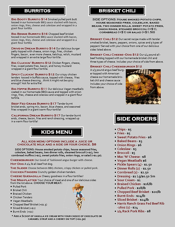 resaturant menu burritos chili kids up in smoke bbq san marcos