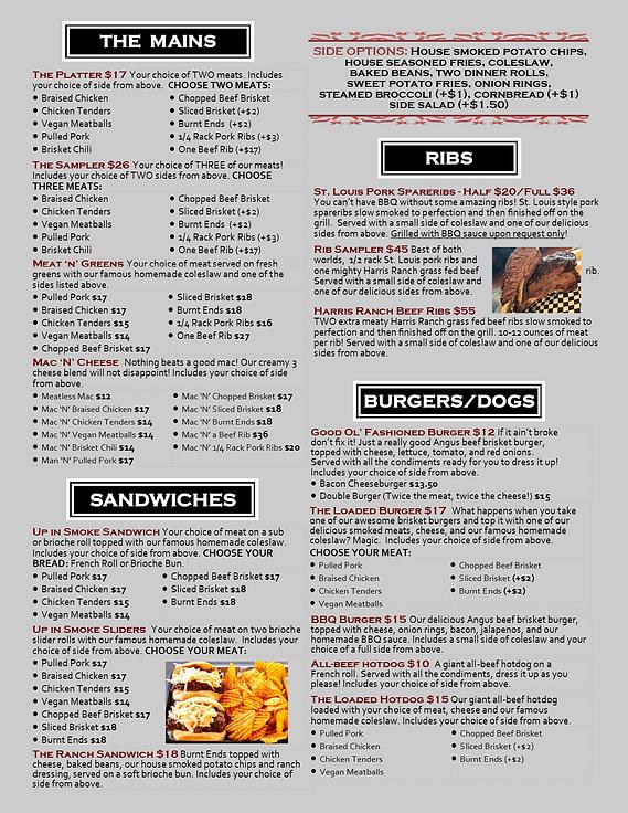 restaurant menu entrees mains up in smoke bbq san marcos