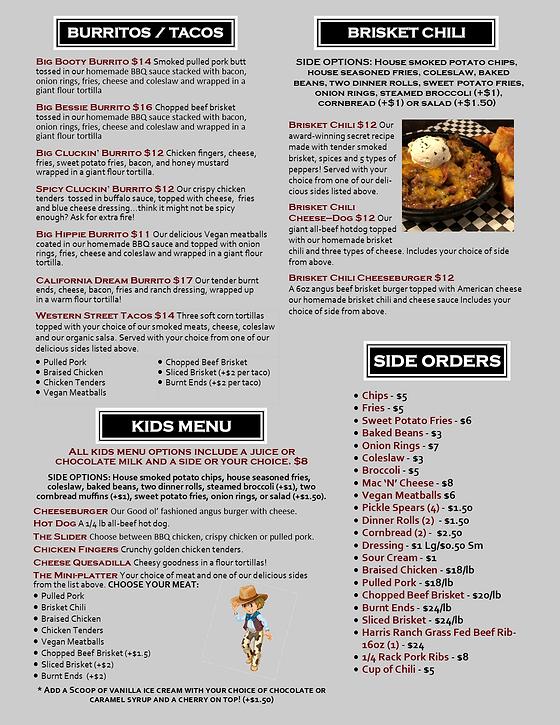 resaturant menu burritos chili kids up in smoke bbq san marcos