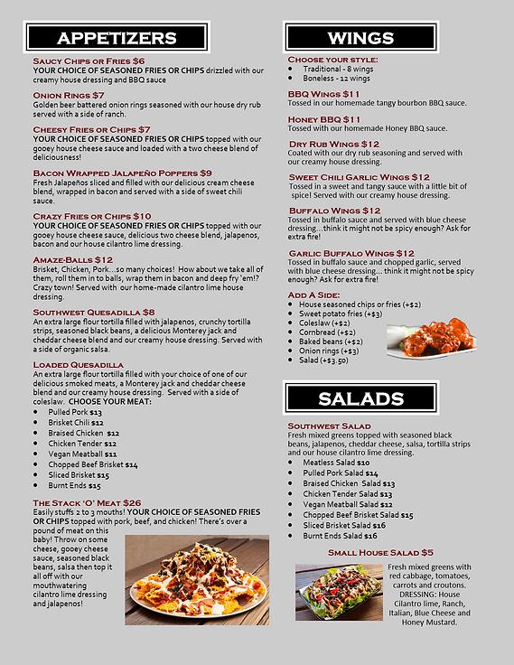 restaurant menu appetizers wings salads up in smoke bbq san marcos california