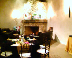 raging, yet cozy fire at the mission