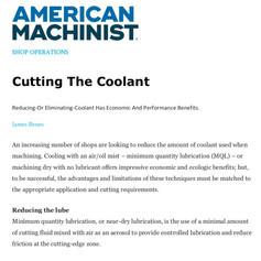 American Machinist Cutting The Coolant
