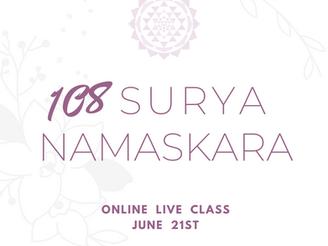特別版 《オンラインLiveクラス》国際ヨガの日 ナマシヴァーヤ・ヨーガの創設者テージ先生による太陽礼拝108回チャレンジ