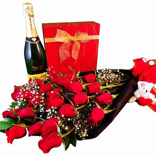 Two Dozen Red Roses, Chocolates, Sparkling Wine