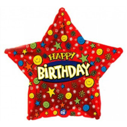 Happy Birthday Smiley Star Balloon