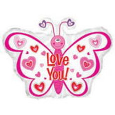 Love you Butterfly Balloon 22""