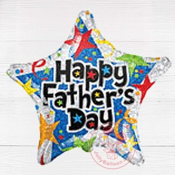 """Fathers Day Blue & Silver Star Balloon 18"""""""