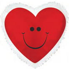 Red Smiley Heart with Border Balloon 18""