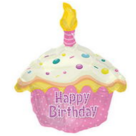 Happy-Birthday Day Pink Cupcake Shape Balloon