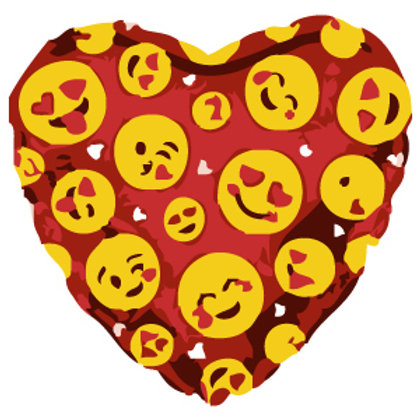 Smiley Faces Emojii Red Heart Balloon 18""