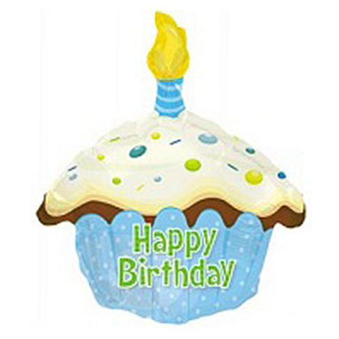 Happy Birthday Day Blue Cupcake Shape Balloon17