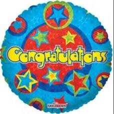 "Congratulations Stars Blue Balloon 18"""