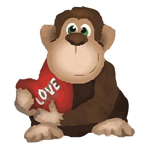 "Brown Love Monkey Balloon - 22"""