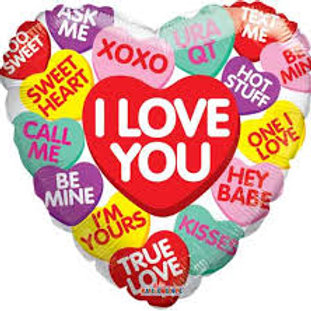 I Love You Hearts Heart Balloon 18""