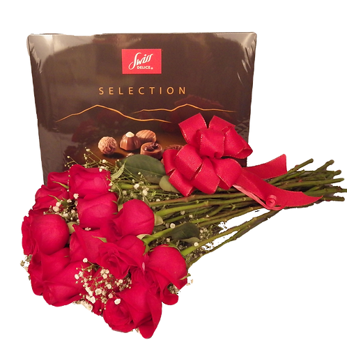 One Dozen Red Roses and Swiss Chocolates