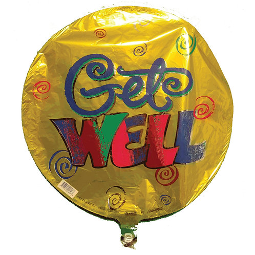 Get Well Spirals Gold Balloon 18""