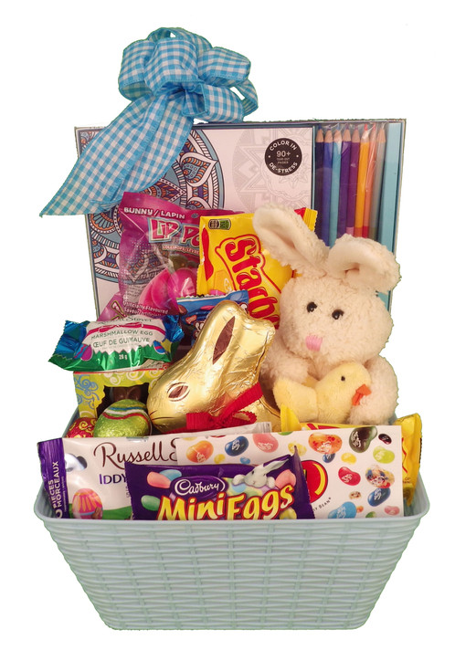 Easter relaxation omg gift baskets flowers halifax dartmouth great gift for teen or university student deluxe adult colouring book kit with pencil crayons plush bunny large lindt bunny a fun bunny face pop and a negle Choice Image
