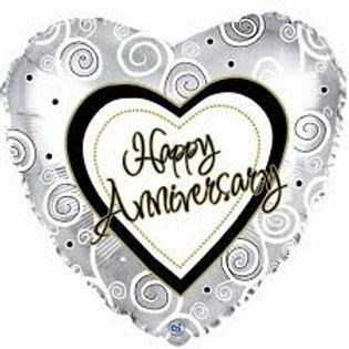 "Happy Anniversary Silver Swirls Balloon 18"""