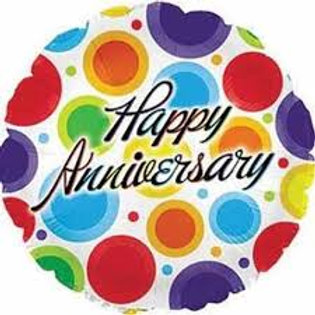 "Happy Anniversary Coloured Circles Balloon 18"""