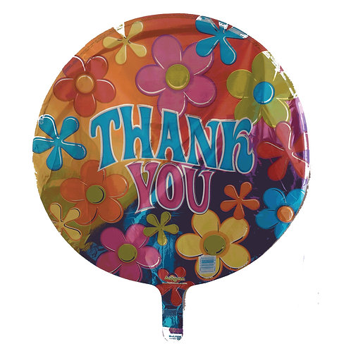 Thank You Groovy Flowers Balloon 18""