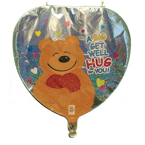"A Big Get Well Hug For You Bear Heart Balloon 18"""