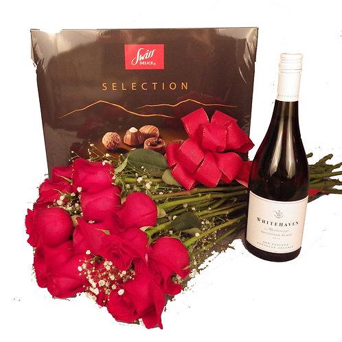 One Dozen Red Roses, Chocolates & Sauvignon Blanc