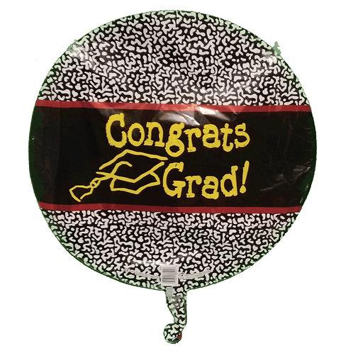 "Congrats Grad Mortarboard Black Speckled Balloon 18"""