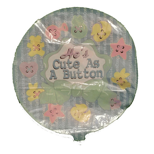 He's Cute as a Button Baby Balloon 18""