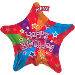 Happy Birthday Star Balloon 18""