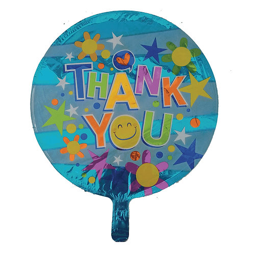 Thank You Stars Flowers and Smiley Face Balloon 18""