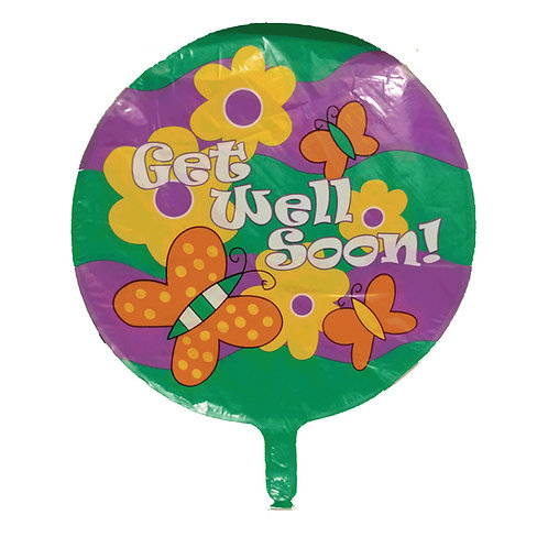 Get Well Soon Butterflies & Flowers Balloon 18""