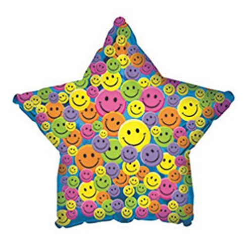 Many Smiley Faces Generic Star Balloon