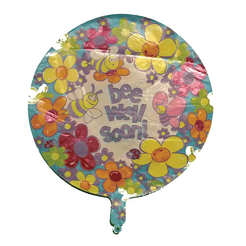 """Bee Well Soon Bees and Flowers Balloon 18"""""""
