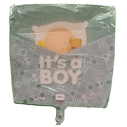 "Its a Boy! Sleeping Baby with Bear Balloon 18"""