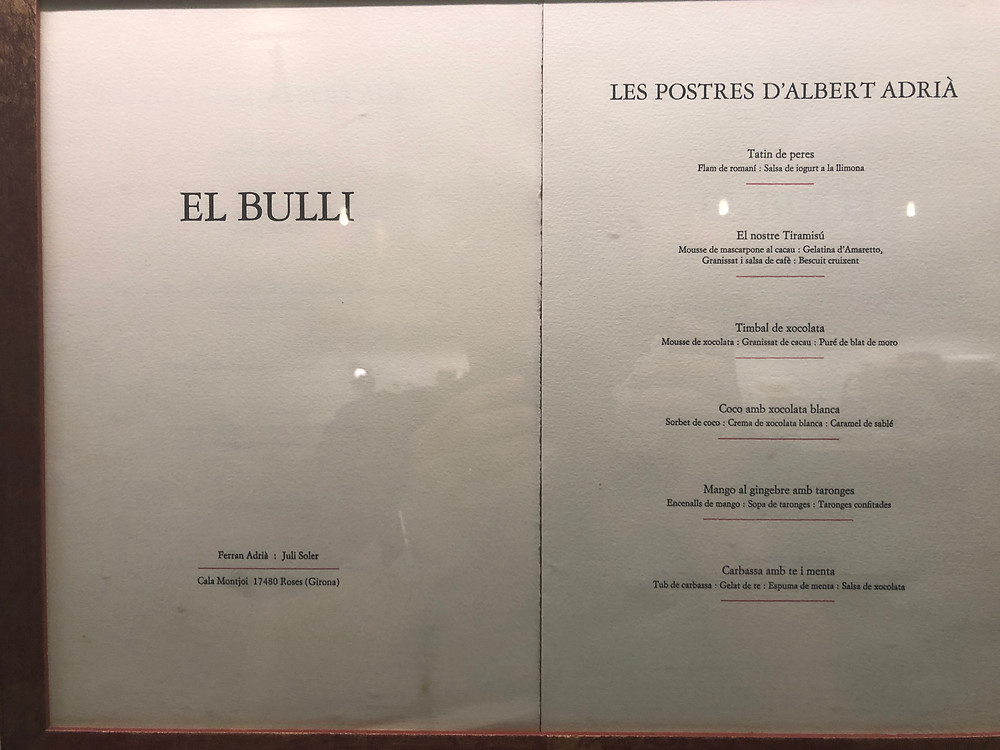 Menu Memories: The original menu from El Bulli.