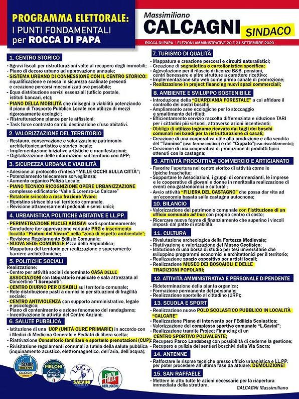 programma elettorale CALCAGNI SINDACO 20