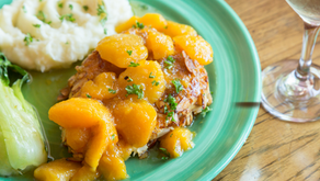 One Pan Basil-Peach Glazed Chicken