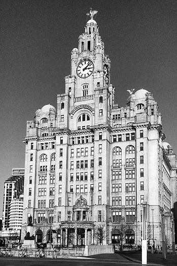 The Liver Building at the Pier Head in Liverpol City Centre