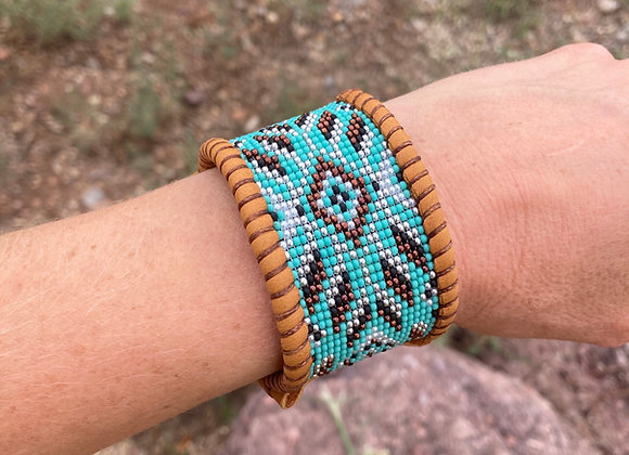 TEAL and COPPER AZTEC Cuff