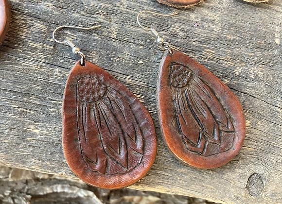 Leather Earrings- Sunflower- dark finish