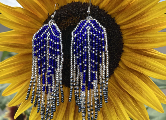 SAPPHIRE FEATHER beaded earrings