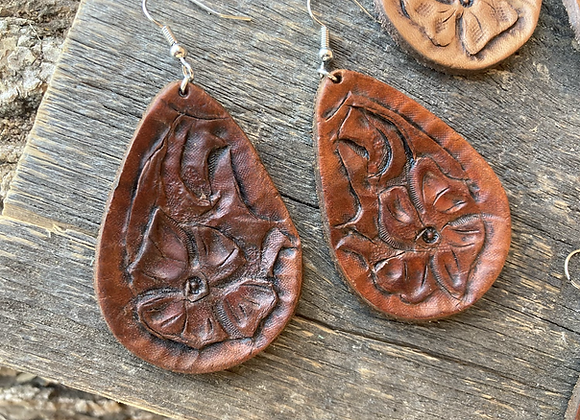 Leather Floral Earrings- dark finish