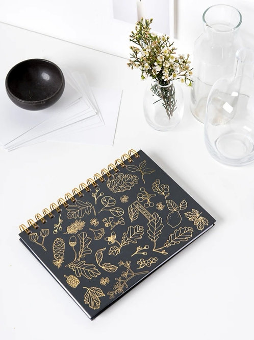 Spiral Gold leaf notebook-Black