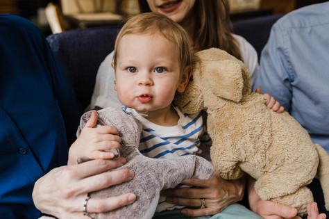 Adorable baby photo with stuffed animals
